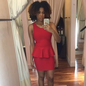 Bebe Red Peplum Bandage Dress